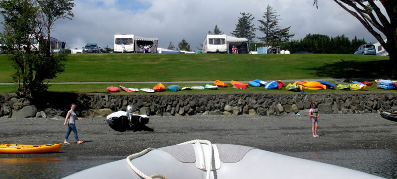Caravan pitches area A from boat at sea